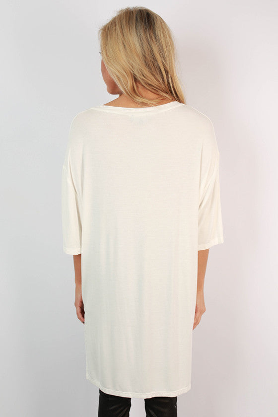 Weekend Vibes V-Neck tunic in Ivory