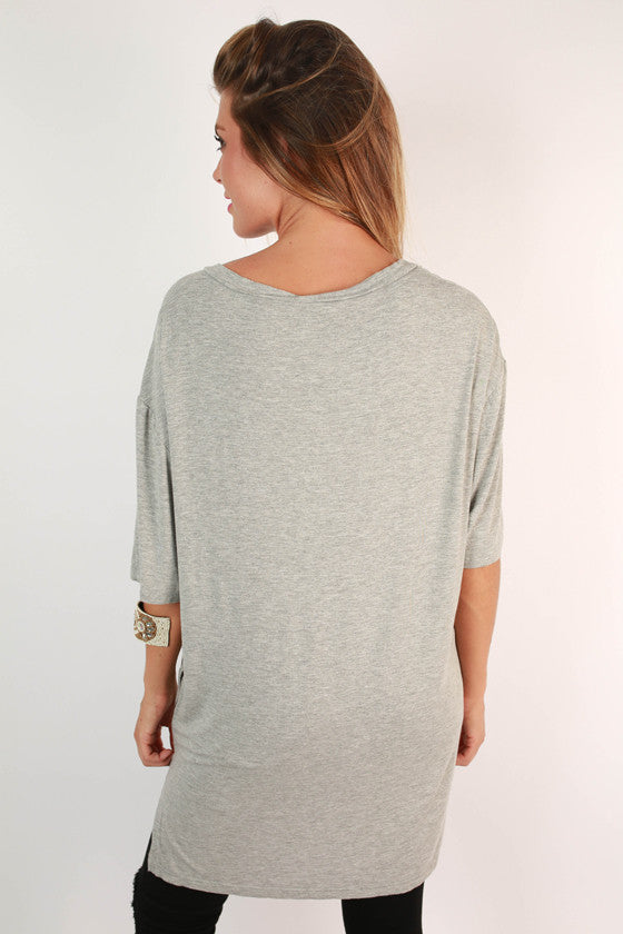Weekend Vibes V-Neck Tunic in Grey
