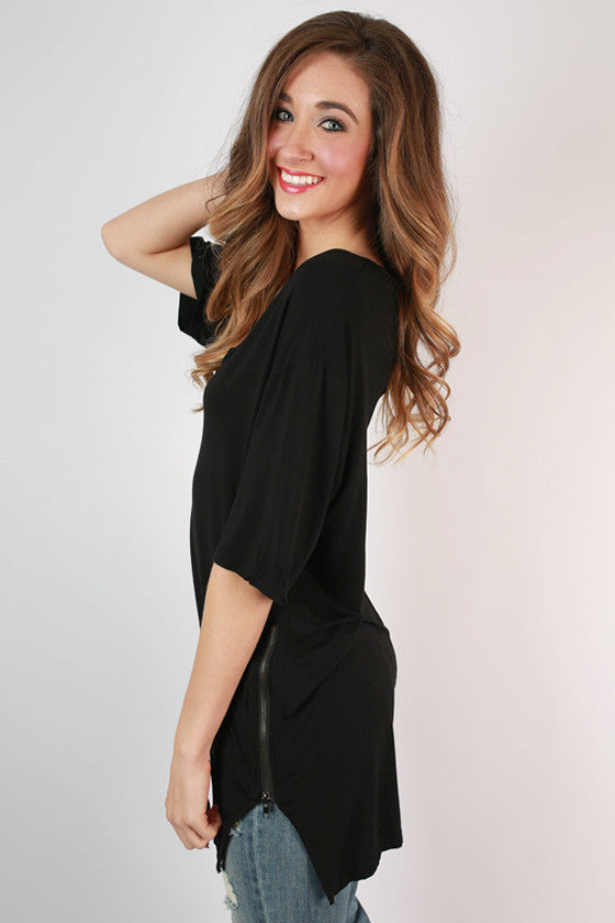 Weekend Vibes V-Neck Tunic in Black
