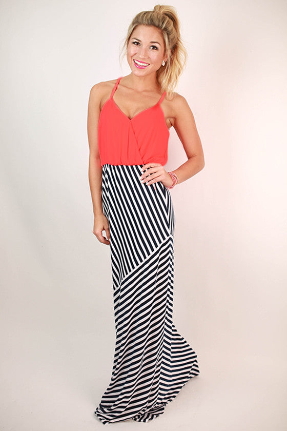 Party in Stripes Maxi Dress in Coral