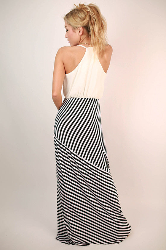 Party In Stripes Maxi Dress in White