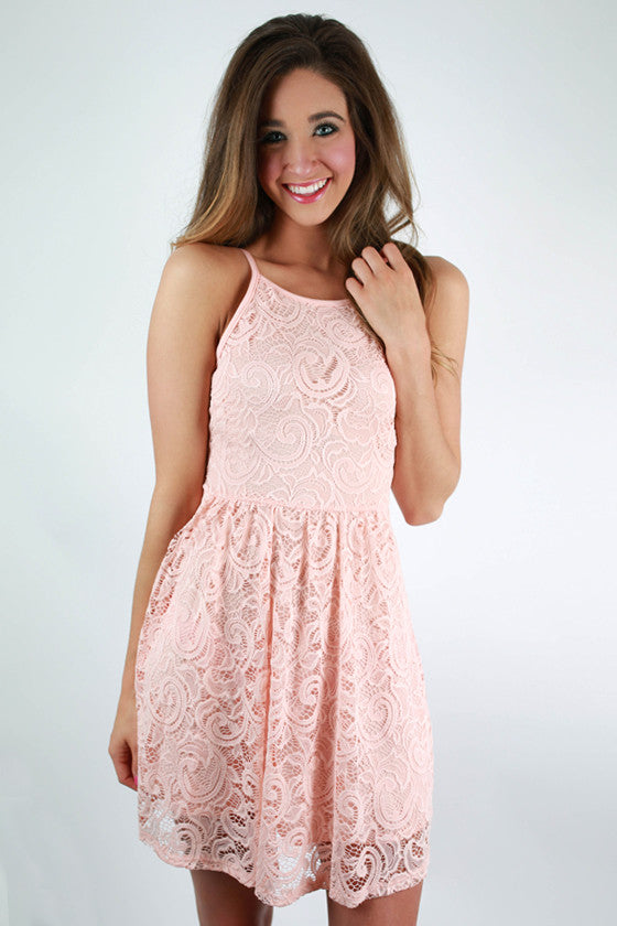 Southern Lace Bow Dress in Light Peach