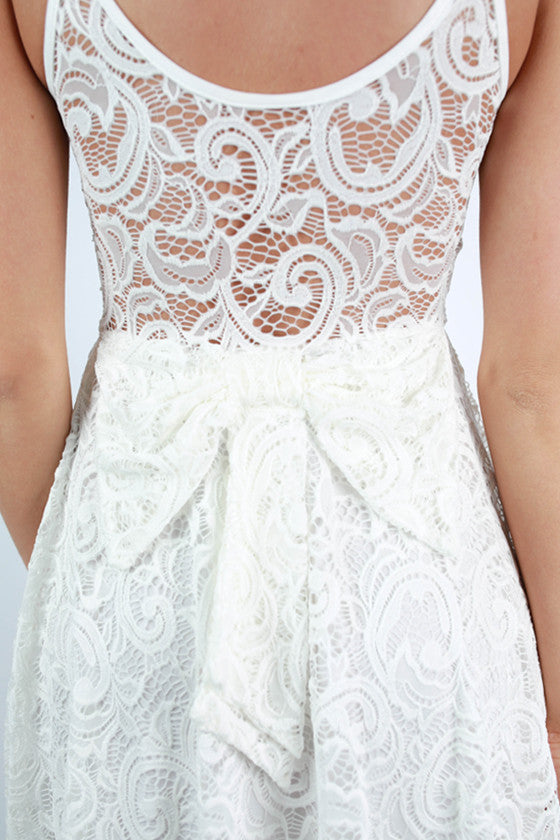 Southern Lace Bow Dress in White