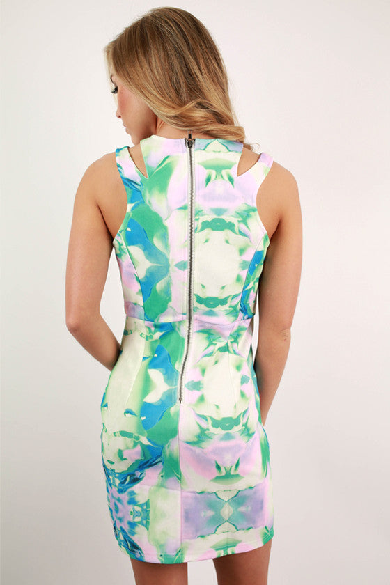 Love In Laguna Watercolor Dress in Mint