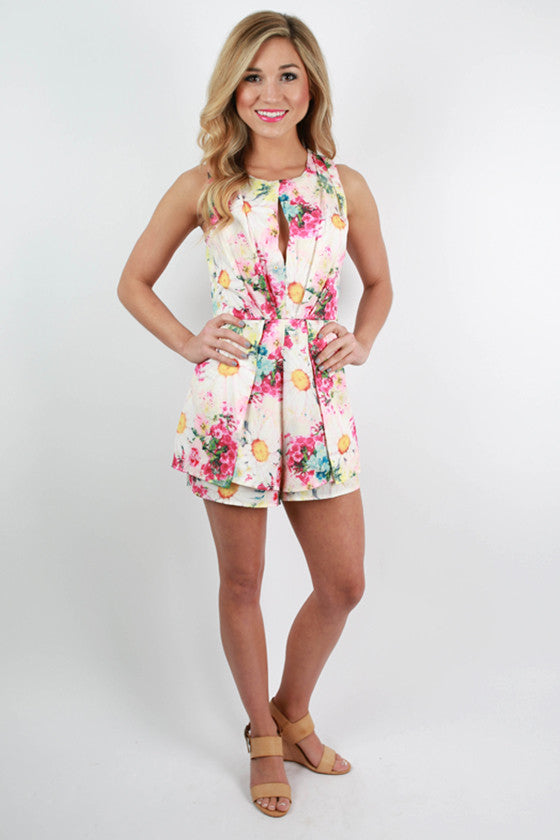 A Walk In the Garden Floral Romper in Ivory