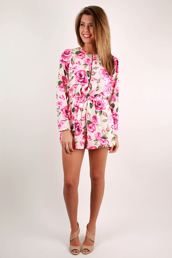 Sweeter Than A Rose Floral Romper in Pink