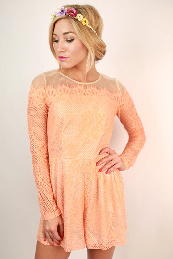 Dreams In The City Lace Romper in Peach