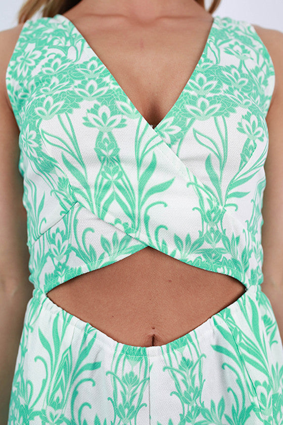 So Chic Floral Romper in Mint