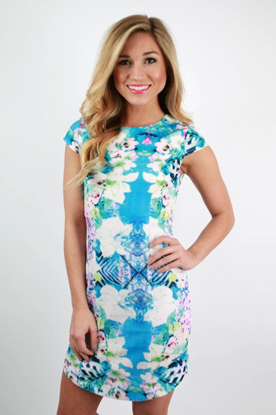 The Luxe Life Watercolor Dress in Blue
