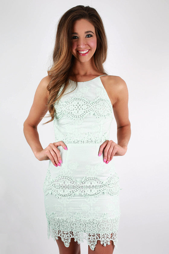 Beautiful in Bali Crochet Dress in Mint