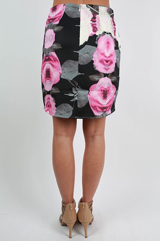 Roses & Romance Floral Skirt in Black