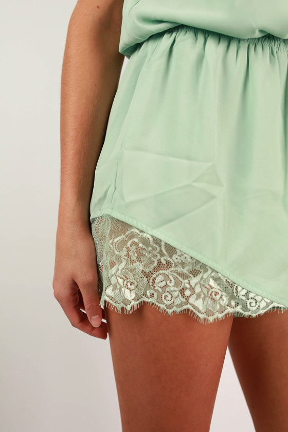 Easy On The Eyes Romper in Mint