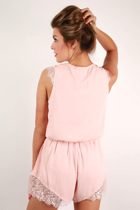 Easy On the Eyes Romper in Light Peach