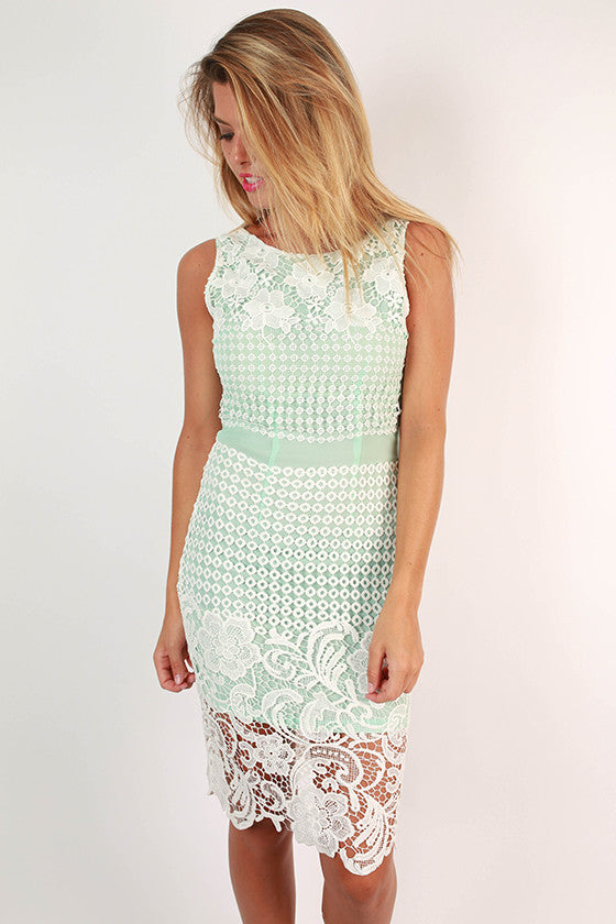 Feeling Dreamy Crochet Dress in Ocean Wave