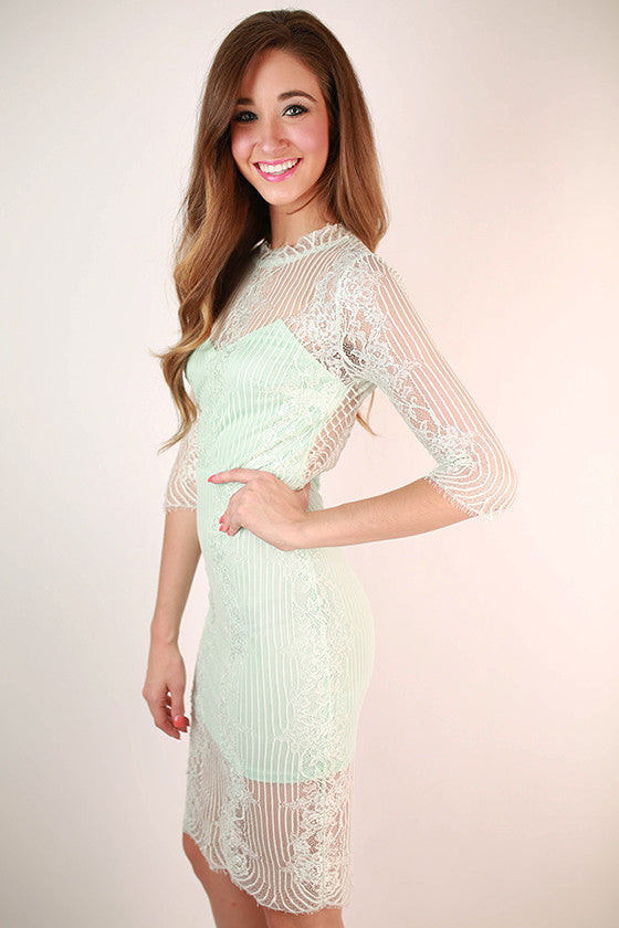 I'm Worth It Lace Dress in Mint