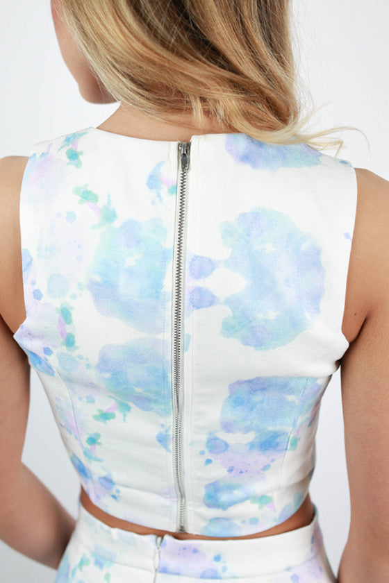 Ahead of the Times Watercolor Crop Top in Blue