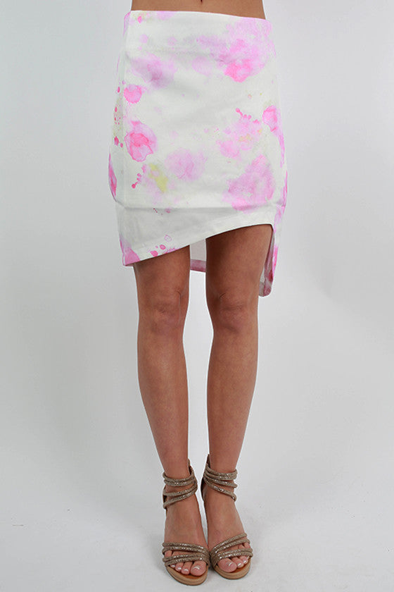 Ahead of the Times Watercolor Skirt in Pink