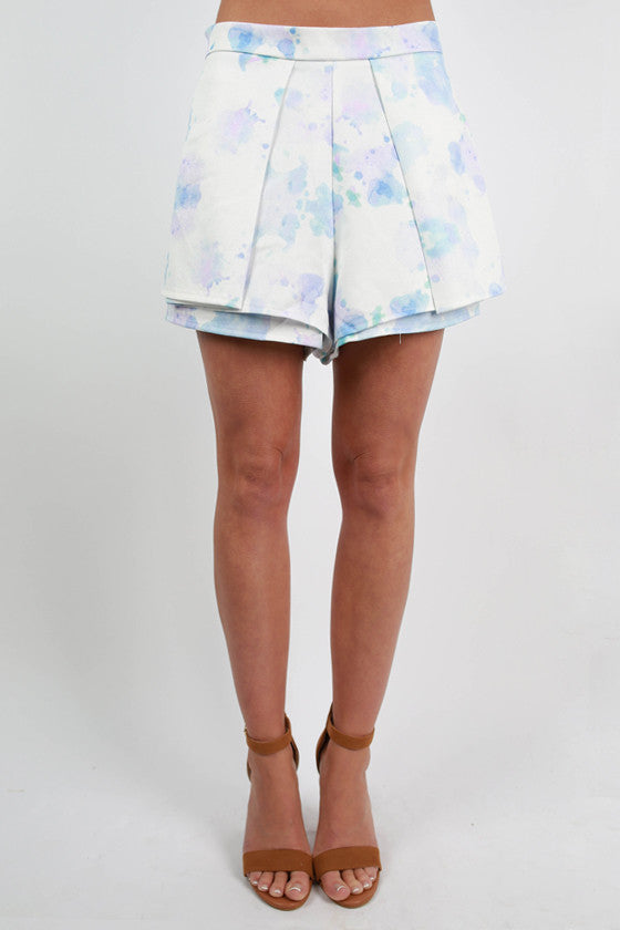 Ahead of the Times Watercolor Shorts in Blue