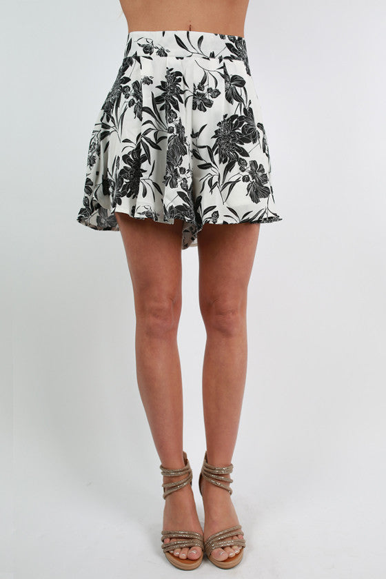 Class Act Floral Shorts in White