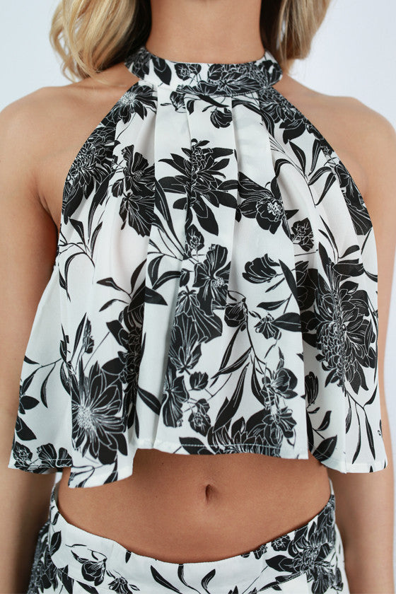 Class Act Floral Crop Top in White