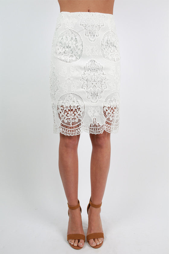 Flawless & Crochet Skirt in White