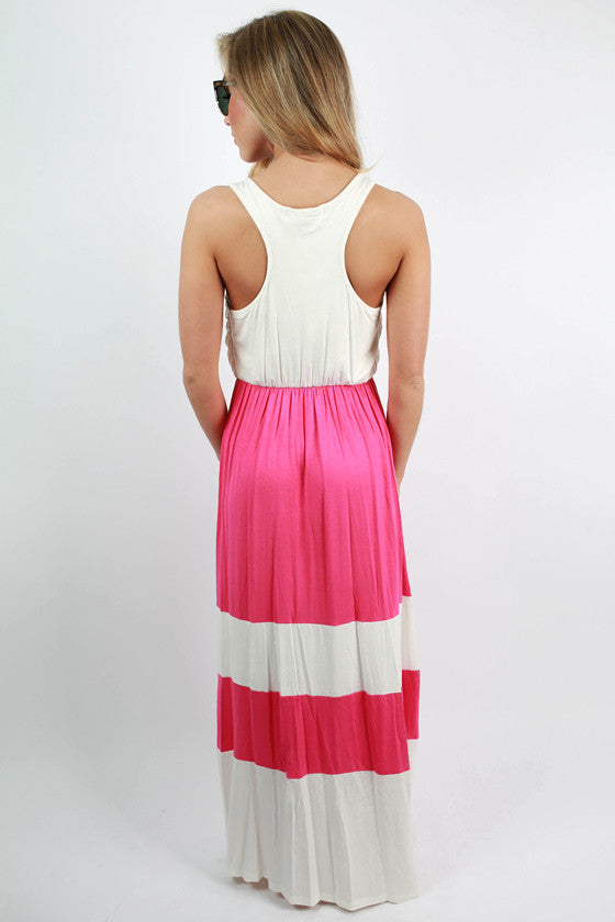 Beautiful & Social Stripe Maxi Dress in Pink