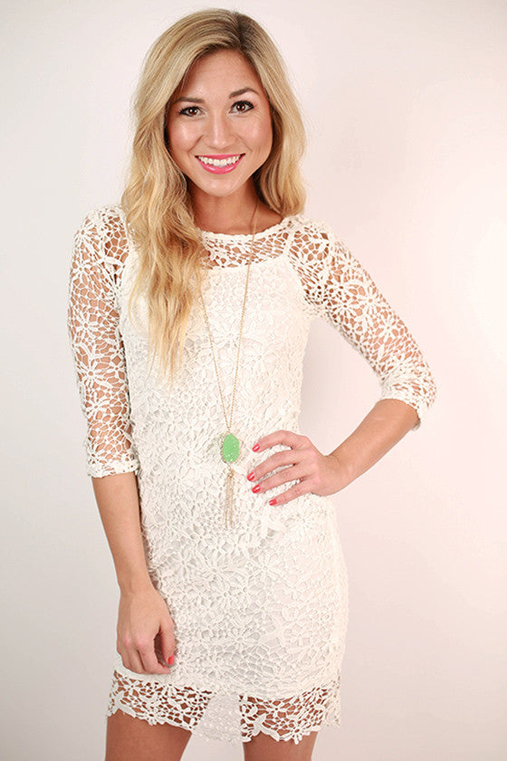 Greece Getaway Crochet Dress in White