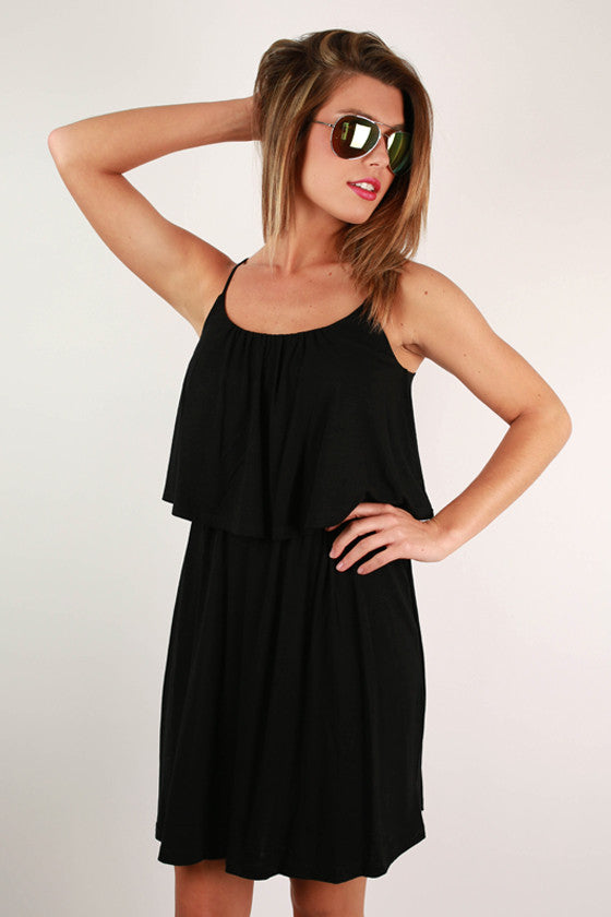 Brunch Hour Layered Dress in Black