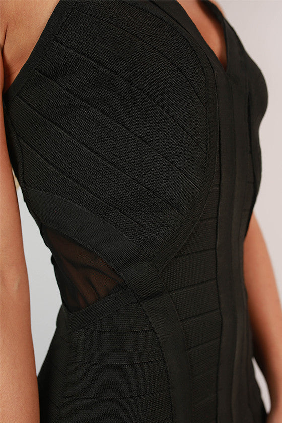 Chicago Nights Bandage Dress in Black
