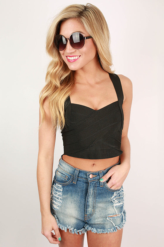SweetHeart Bandage Crop Top in Black