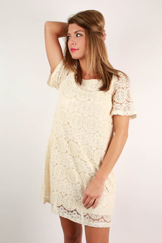 Lola Lace Shift Dress in Cream