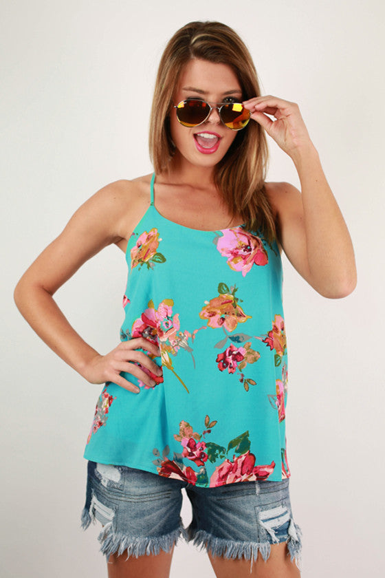 Floral Feelings Tank in Aqua