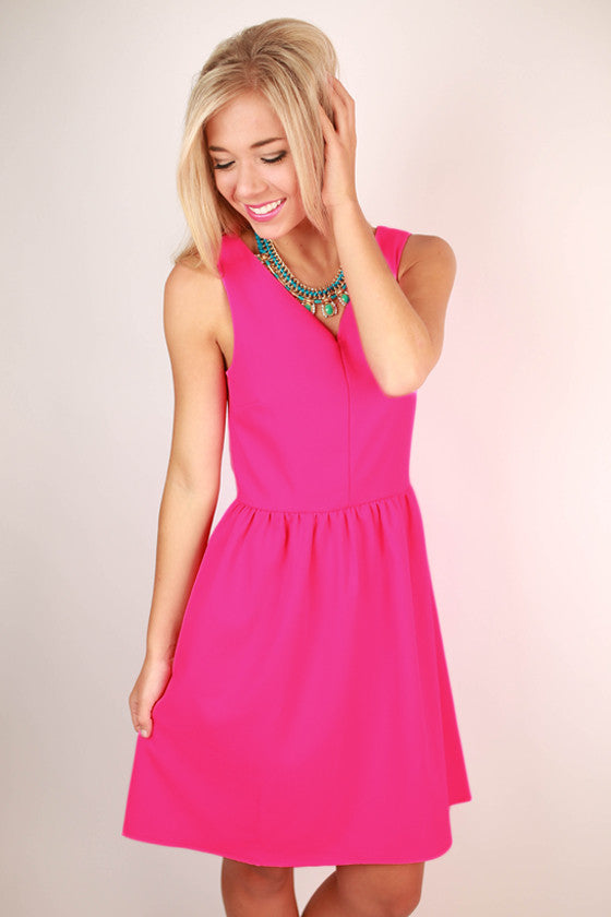 Breakfast at Tiffany's Dress in Hot Pink