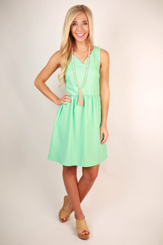 Breakfast at Tiffany's Dress in Aqua