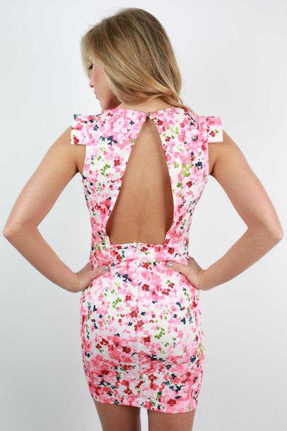First Impression Open Back Floral Dress