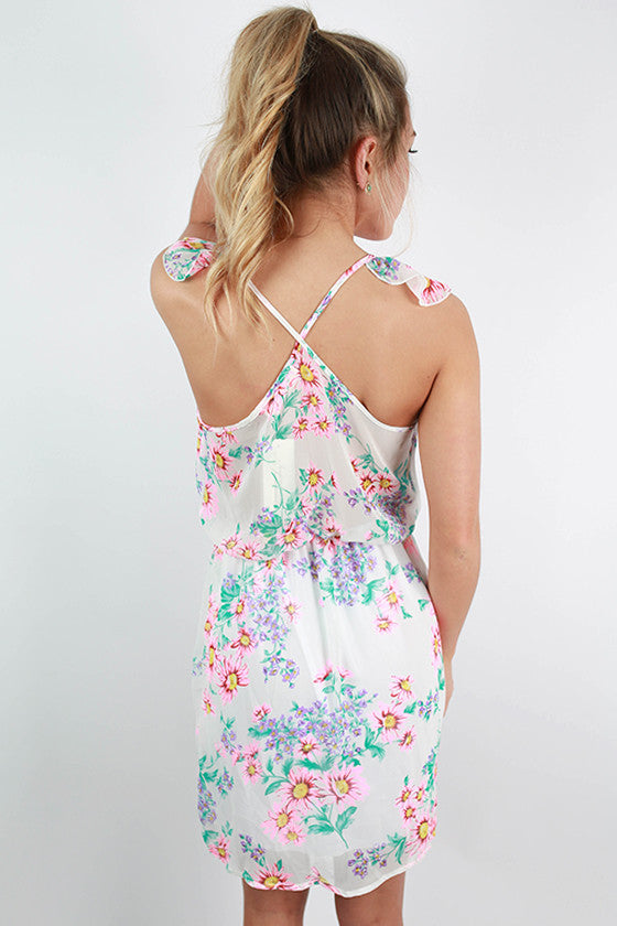 Swoon Worthy Floral Halter Dress in White