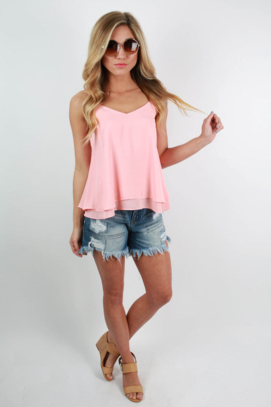 Georgia Peach Flutter Tank in Peach