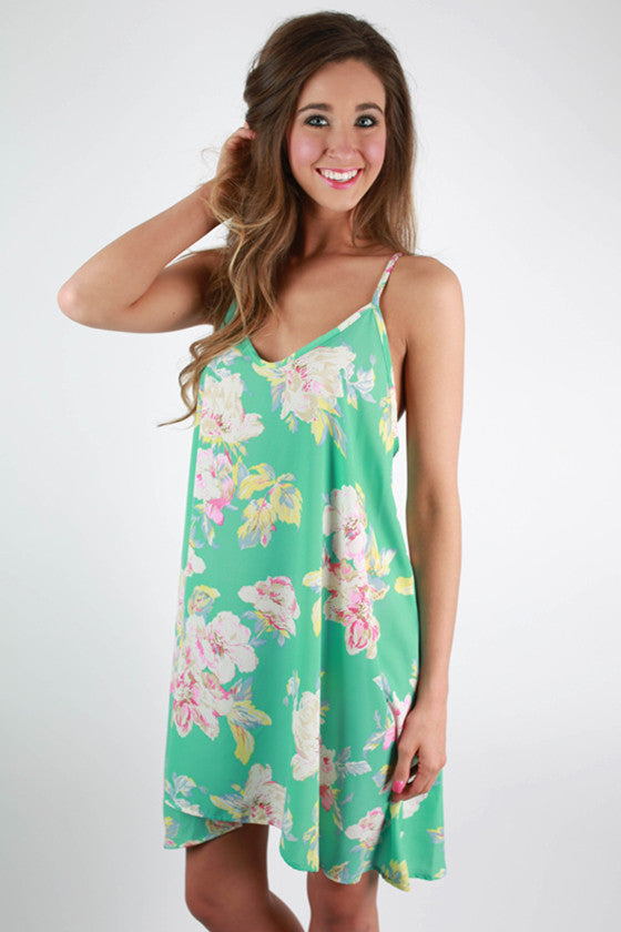 Twist & Shout Floral Dress in Ocean Wave