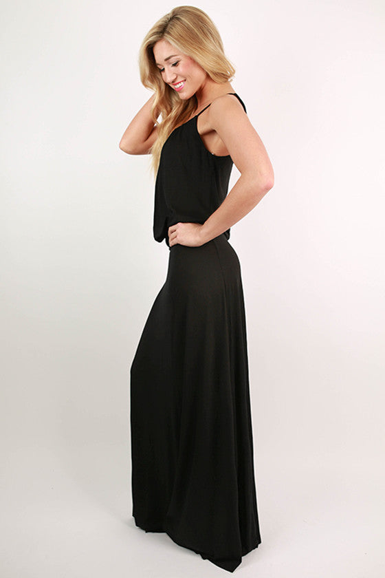 I'll Be Roadtripping Spaghetti Strap Maxi Dress in Black
