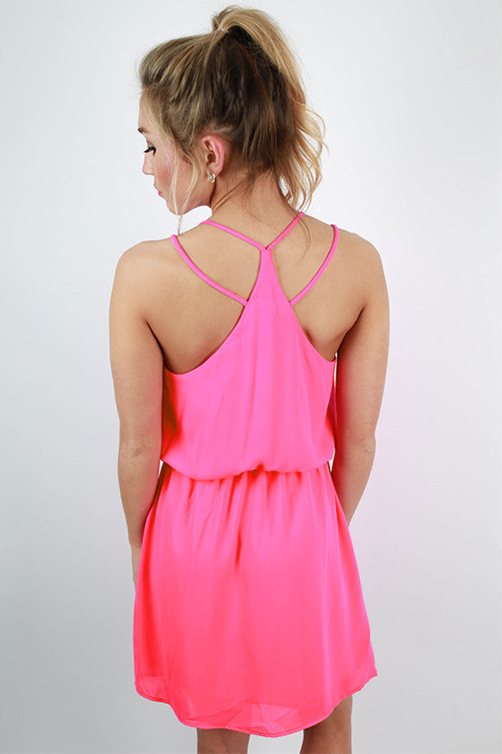 Bold & Beautiful Racer Back Dress in Magenta
