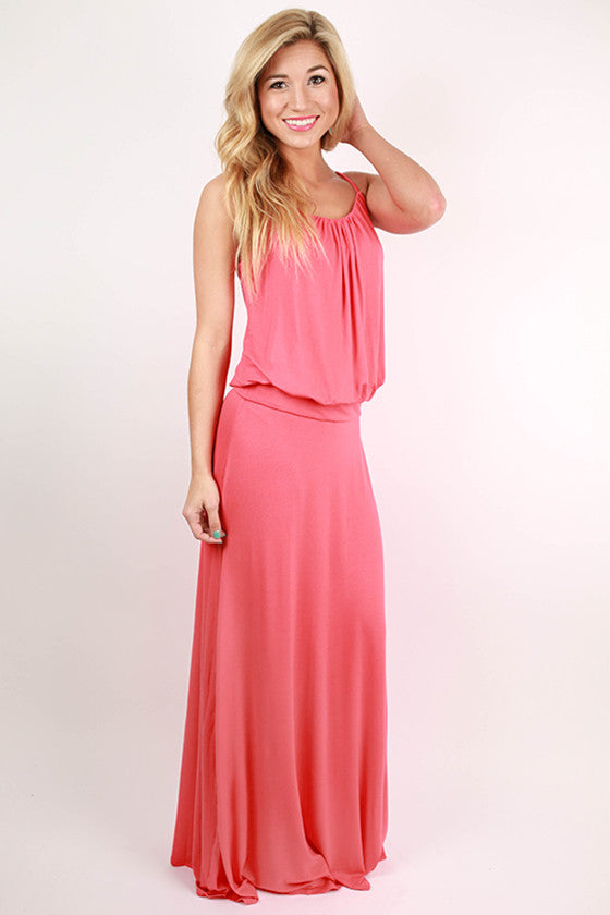 I'll Be Roadtripping Spaghetti Strap Maxi Dress in Coral