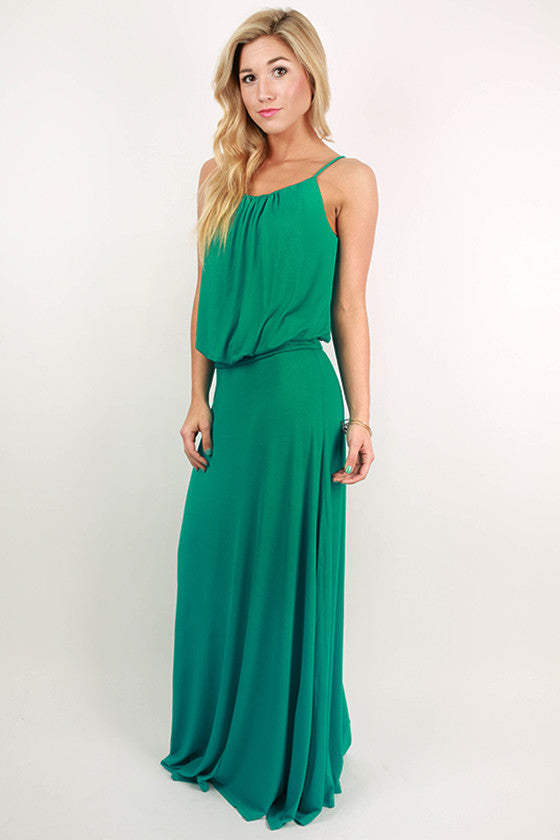I'll Be Roadtripping Spaghetti Strap Maxi Dress in Jade