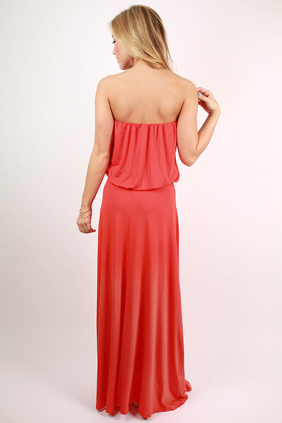I'll Be Roadtripping Strapless Maxi Dress in Tangerine