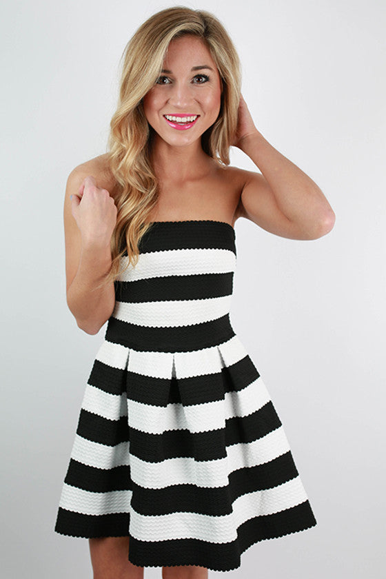 Santa Monica Stripes Dress in Black