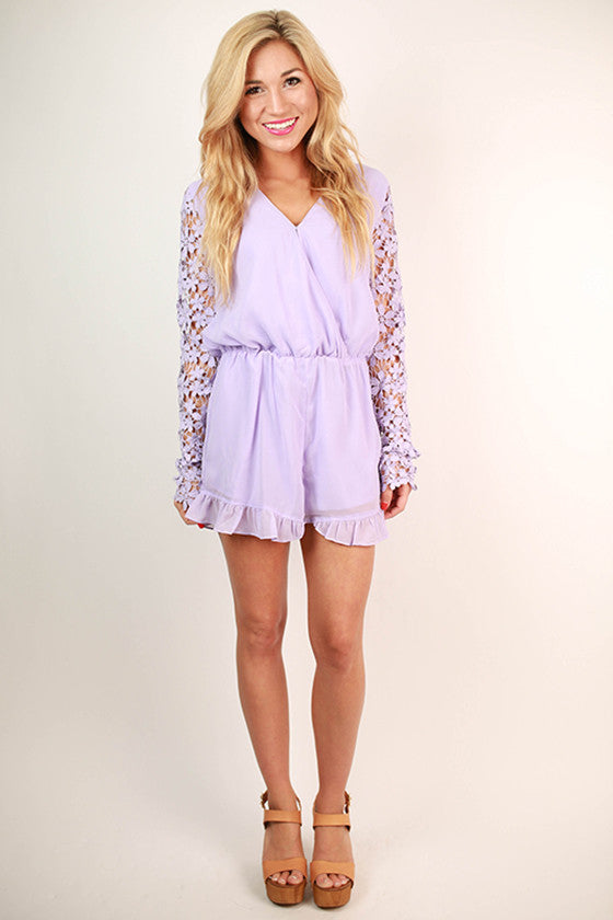 Strolling in Crochet Romper in Lavender