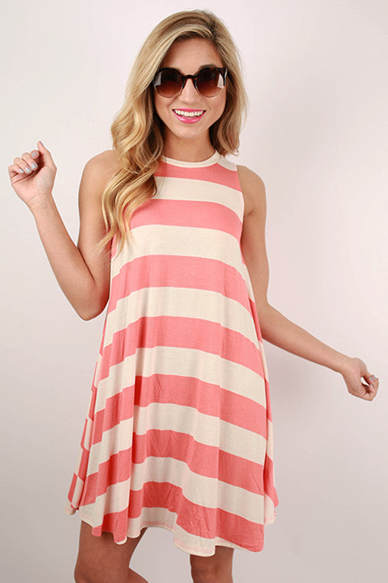 Afternoon Stripes Tunic Dress in Coral