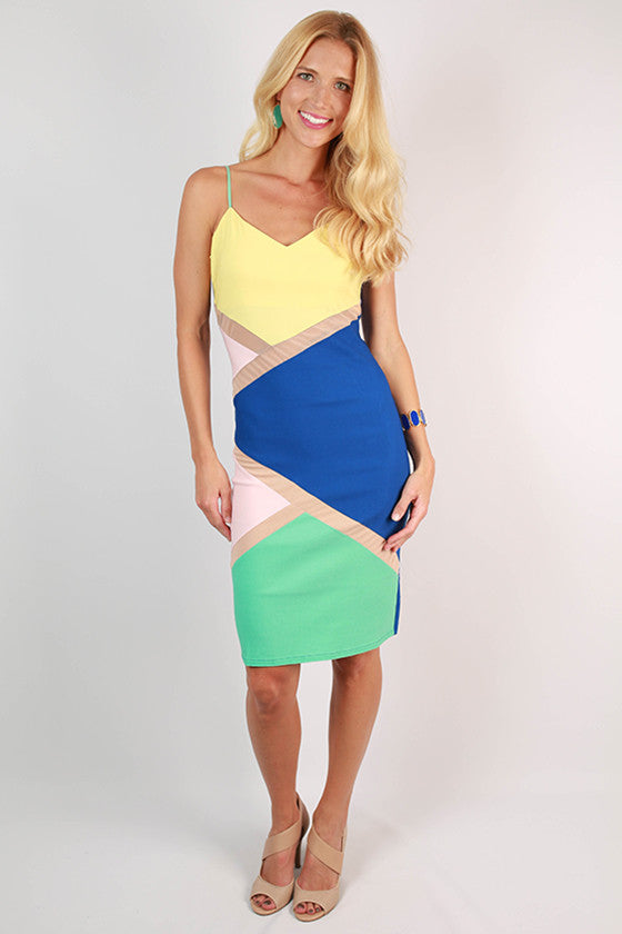 Sass To The Max Colorblock BodyCon Dress in Royal Blue