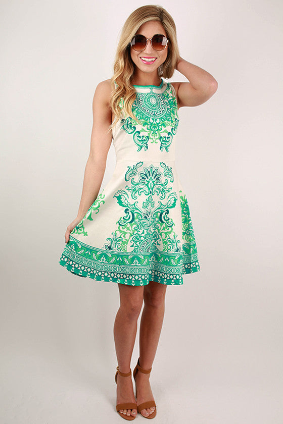 Full On Splendor Brocade Flare Dress in Ivory