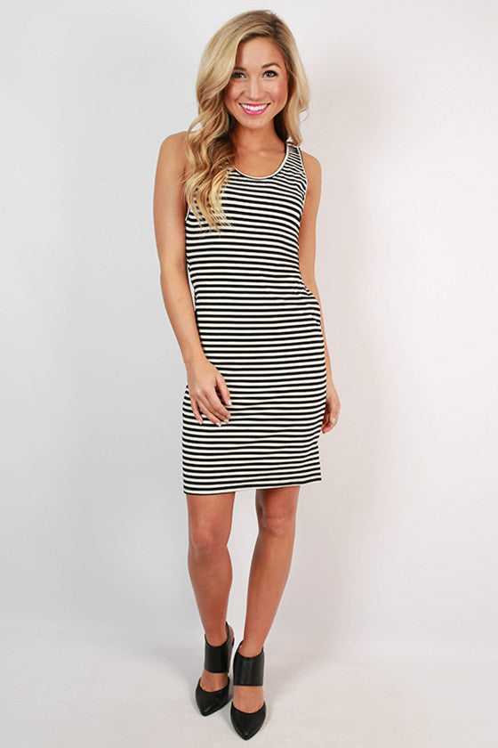 Stripes & Cocktails Dress in Black