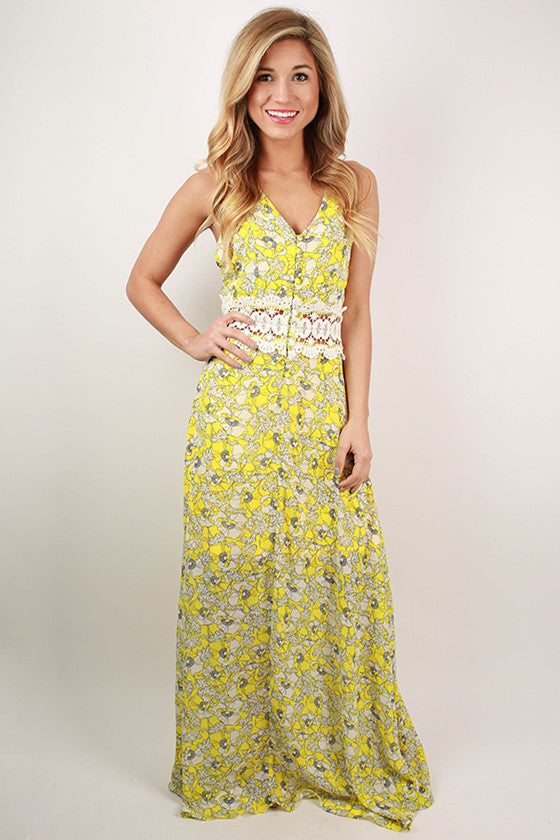 Making Memories Floral Maxi Dress in Yellow